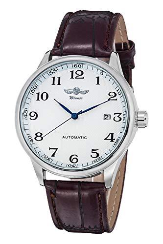 GuTe Mechanical - Orologio meccanico classico con quadrante bianco e lancette blu, da uomo, cinturino in PU, orologio automatico