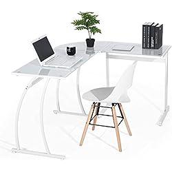 coavas Escritorio en L Mesa de Ordenador Esquinero para Despacho Habitación Juvenil o Estudio para Hogar u Oficina Esquinero, Cristal Blanco