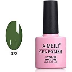 AIMEILI Smalto Semipermente per Manicure Smalti per Unghie in Gel Soak Off UV LED Verde - Kale (073) 10ml