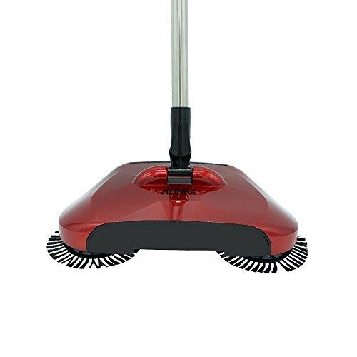 3 in 1 Automatische Hand Push Sweeper Broom, KONKY Haushalt Besen Kehrmaschine, 360 Degree Rotary Reinigungsmaschine Easy Sweep Mülleimer Kehrschaufel,Rot