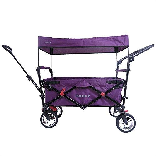Fuxtec Faltbarer Bollerwagen FX-CT700 Purpur klappbar mit Dach, Vorder- und Hinterrad-Bremse, Vollgummi-Reifen, Schubbügel, für Kinder geeignet - Das Original !