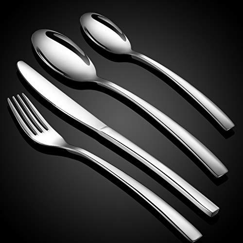 WUJO Besteckset, Besteck aus Edelstahl, 16-teiliges Silber Besteck Set inkl. Messer, Gabel, Löffel, Teelöffel Essbesteck für 4 Personen, Spiegelpoliert, Spülmaschinenfest