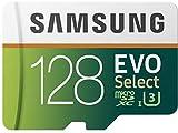 Samsung MB-ME128GA/EU Speicherkarte EVO Select microSDXC 128 GB bis zu 100 MB/s, UHS-I U3 inkl. SD Adapter grün/weiß