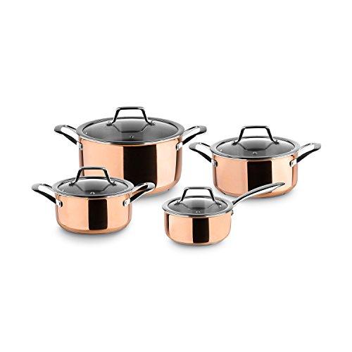 3-Schicht Edelstahl Topfset Claire | Kupfer Kochtopf-Set mit Glas-Deckeln | Copper Pots in modernem edlen Design, alle Herdarten inkl. Induktion