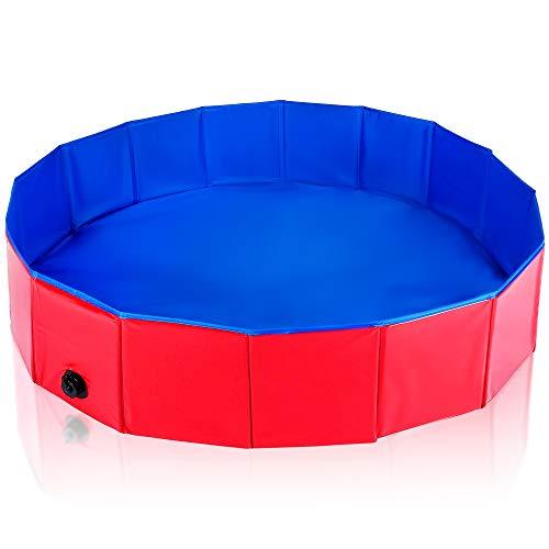 Pet Mania Faltbares Hundepool, Planschbecken Mittel 120X30cm - Robustes, Hochwertiges PVC mit Verstärkten Oxford-Wänden - Haustier Schwimmbecken, Badewanne, Welpen Katzen Kinderpool Doggy Pool