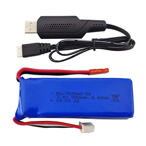 HuaMore Drone BLLRC 7.4V 900mAh Batteria con Cavo di Ricarica USB per XK X520 XK X420 Drone