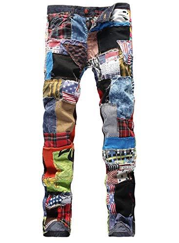 Herren Junioren Straight Leg Bunt Vintage Patchwork Jeanshose Modernas...