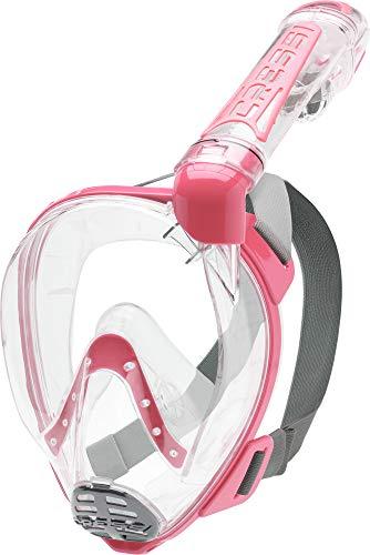 Cressi Duke Full Face Mask, Maschera Integrale Grande Visione Snorkeling con Tubo Dry Unisex Adulto, Trasparente/Rosa, S/M
