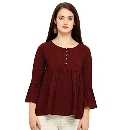 J B Fashion Women's Plain Regular Fit Top (D NO-101-XL_Red_X-Large)
