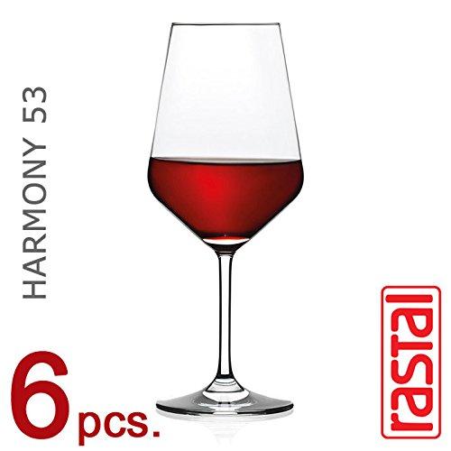 RASTAL - Collezione HARMONY - Set n° 6 Calici da degustazione Vino Rosso Mod. H 53 - Capacità 53 cl.
