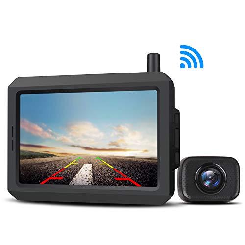 AUTO-VOX W-7 - Telecamera di retromarcia digitale senza fili, con segnale stabile, telecamera posteriore impermeabile IP68, con telecamera di retromarcia con schermo LCD da 5''