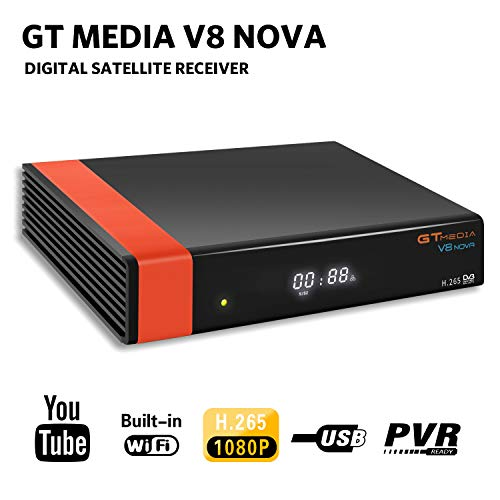 GT Media V8 Nova DVB-S2 Decodificador Satélite Receptor de TV Digital con Wi-Fi Incorporado / SCART / 1080P Full HD / FTA Soporte CCcam, PVR Ready, Newcam, Youtube, PowerVu Dre Biss Clave