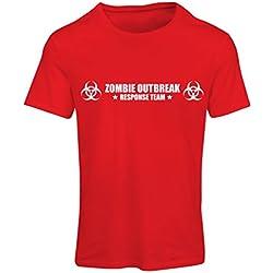 N4519F Camiseta Mujer Zombie Outbreak Response Team (XX-Large Rojo Blanco)