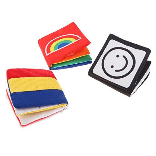 P Prettyia 3 Pezzi Libri di Stoffa per Neonati Montessori, Forme di Colori ad Alto Contrasto
