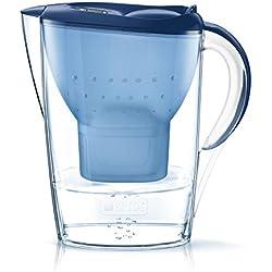 BRITA Marella - Jarra de Agua Filtrada con 1 Cartucho MAXTRA+, Filtro de Agua BRITA que Reduce la Cal y el Cloro, Agua Filtrada para un Sabor Óptimo, Color Azul