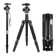 Andoer Q666 Trípode Completo Trípode Reflex Portátil 156cm para DSLR Cámara Canon Sony Nikon, Trípode 2-en-1 Monopod Photocamera Aleación de Aluminio con Cabeza de 360° Bola, Bolsa de Transporte