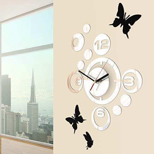 Jago Orologio da Parete con Farfalle | con 3 Adesivi, Design Moderno, Effetto Specchio | Decorazione...
