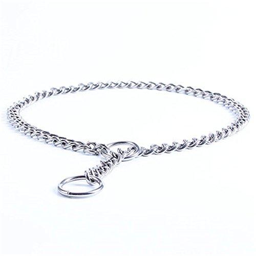 Collar de Acero Inoxidable con Cadena de Metal para adiestramiento de Perros, Mascotas, Collares para Caminar y Entrenar a Perros pequeños, medianos y Grandes, de JWPCEU-40cm