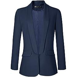 Urban GoCo Mujeres Blazers Chaqueta de Traje Slim Fit Elegante Oficina Negocios Outwear (Large, Azul Marino)
