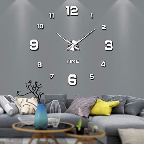 Vangold Adesivo da parete con orologio moderno senza cornice, in metallo, con specchio in acrilico, 3D, ideale per fai da te e decorare la casa-2 anni di garanzia (Argento-22)