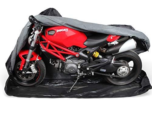 Premium Motorrad Abdeckung Cover für Sommer & Winter | Abdeckplane in 600D Oxford für Indoor & Outdoor | sehr stabil & reißfest | von M bis XXL | Extra Soft Vlies innen 1