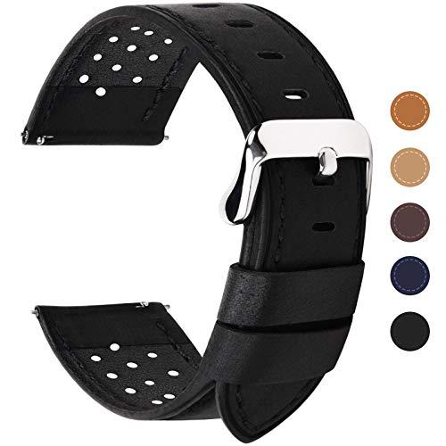 Fullmosa 5 Colori per Cinturino di Ricambio, Breeze Cinturino in Pelle per Orologio da Donna e Uomo,Adatto a Orologio Tradizionali e Smart Watch di18mm,20mm,22mm o 24mm,20mm Nero