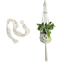 iBaste Blumenampel Makramee Hängeampel aus Seil Pflanzenhänger für blumentöpfe Pflanzenhalter mit Schlüsselring Pflanzen Halter für Garten Zimmer Dekoration Blumentöpfe zum Aufhängen Pflanzenhalte