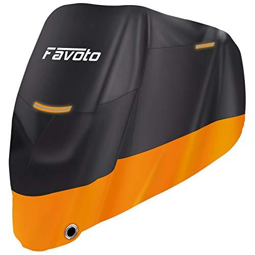 Favoto Funda para Moto 210D Cubierta de Motocicleta Protector Poliéster Resistente al Agua a Prueba de UV Lluvia Polvo Viento Nieve Excremento de Pájaro XXL 245cm Negro Naranja