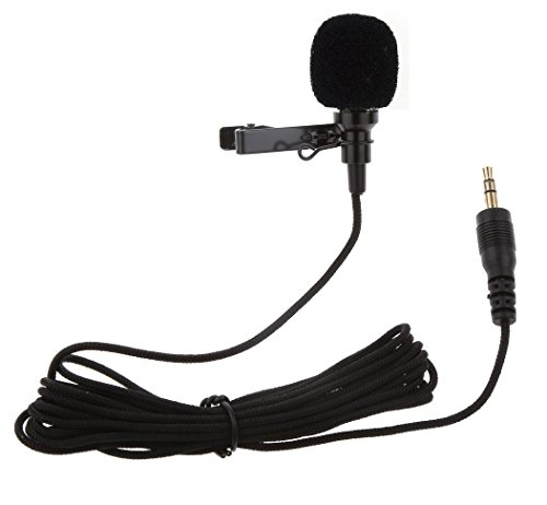 Rewy Brobeat 3.5MM Clip On Mini Lapel Lavalier Microphone for Android/IOS Devices (Black)