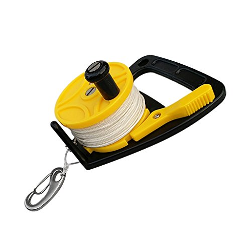 non-brand Sharplace Scuba Diving Reel Mulinello da sub Finger Reel Spool 30m Adatto a Subacque - Giallo