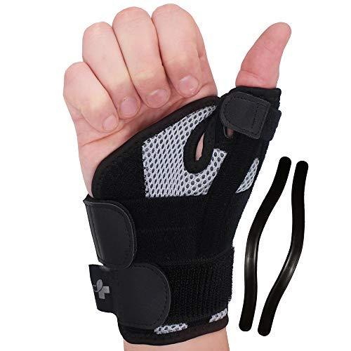 YOGAMEDIC® Daumenbandage Daumenschiene rechts & links - Zufriedenheitsgarantie - Stabilisierende Schiene für Entlastung des Handgelenks bei Verletzungen und Sehnenscheidenentzündung