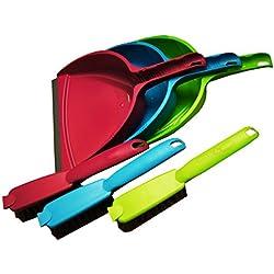 Set oder Variante Frei wählbar Kehrgarnitur mit Gummilippe, Brombeere, Grün und Blau, Graue Borsten und Gummilippe, Polypropylen (Blau)
