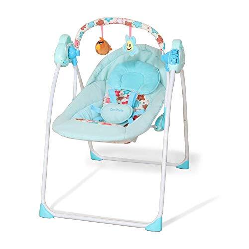 Stootrel- Seggiolone Elettrico for Bambini, Culla a Dondolo for Neonato, Altalene for Bambini, Buttafuori e bilancieri for Bambini, Culla for Bambini a Sicurezza Automatica (Color : Blu)