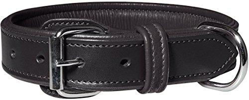 Knuffelwuff 13967-021 Leder Hundehalsband mit Schnallenschutz Detroit, schwarz
