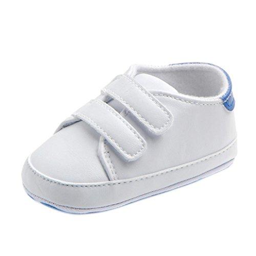 UOMOGO Scarpine neonato Sneaker in Pelle Pattini di bambino ragazza Bowknot Leater antiscivolo Per 0~18 Mesi (Età: 6~12 mesi, Bianca)