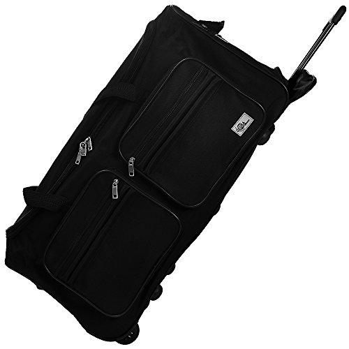 DEUBA XL Reisetasche | mit Trolleyfunktion | Rollen mit Kugellager | Teleskopgriff | abschließbar 85 Liter in Schwarz Sporttasche Reisetrolley Gepäcktasche