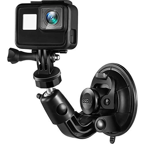 Ventosa Montaggio Aspirazione Fotocamera Montaggio Compatibile con GoPro Hero 6/5/4/3/2/1, 1/4-20 Filo Heavy Duty Pieno Rotazione Auto Parabrezza e Supporto Superficie Liscia per Videocamere
