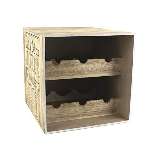 iDiffusion - Cantinetta per vino in legno, 6 bottiglie