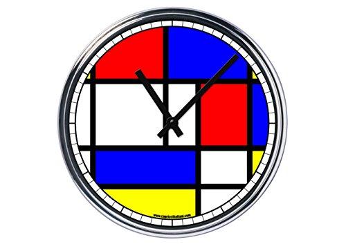 Orologio da partete in acciaio Mondrian - grid