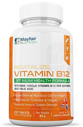 Vitamina B12 con acido folico | 200 compresse Vegan Premium da 1400mg | Non-GMO e senza glutine | Fornitura di 6 mesi | Prodotto nel Regno Unito da Mayfair Nutrition
