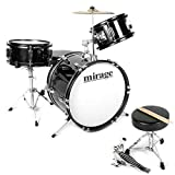Mirage JDK 3 Piece Junior Drum Kit With Stool and Sticks - Black