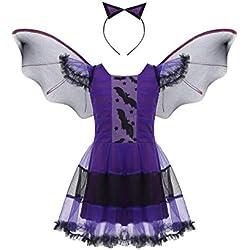 MSemis Disfraz Bruja para Niñas Vestido Vampiresa Diablesa, Alas Murciélago y Tocado 3Pcs Traje Halloween Navidad Cosplay Bat Girl Regalo Cumpleaños Morado 3-4 Años
