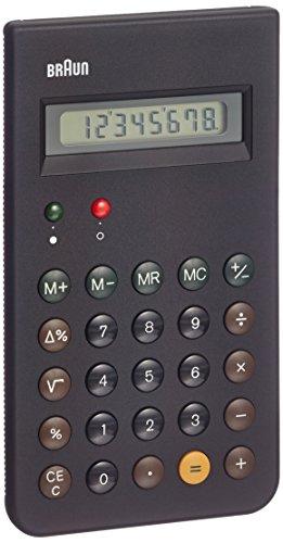 BRAUN BNE 001 BK KULT-TASCHENRECHNER, DIETER RAMS, 8 STELLIGES LCD-DISPLAY INKLUSIVE HARTSCHALEN-SCHIEBECOVER,SCHWARTZ