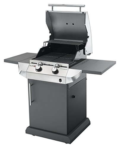 This gas grill has two stainless steel burners and cooks for up to 4 people at a time. These burners are built to withstand the heat and last. Each burner has its own electronic igniter allowing you to light them up with a single push of a button. A grate-level temperature gauge is also available to monitor the heat of the individual cooking zones.