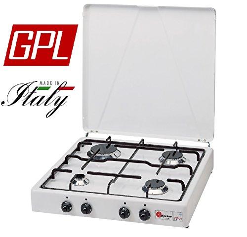 FORNELLO Parker Alimentazione Gas GPL (BOMBOLE) con 4 FUOCHI Colore Bianco E Nero - per Uso Esterno...
