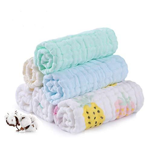Baby Musselin Waschlappen, Weiche Neugeborene Baby Gesichtstücher, Mehrzweck-natürliche Baumwolle Baby Wipes (6 PACK)