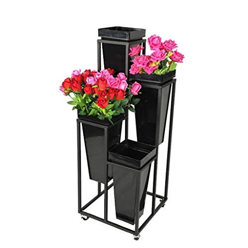 Estante Flower Holder Garden Grow Plant Pot Stand Pack de 4 macetas Soporte for jardín Patio Balcón Plant Pot Holder Estante de flores de hierro con rueda Incluyendo macetas de arado Altura: 105cm Est
