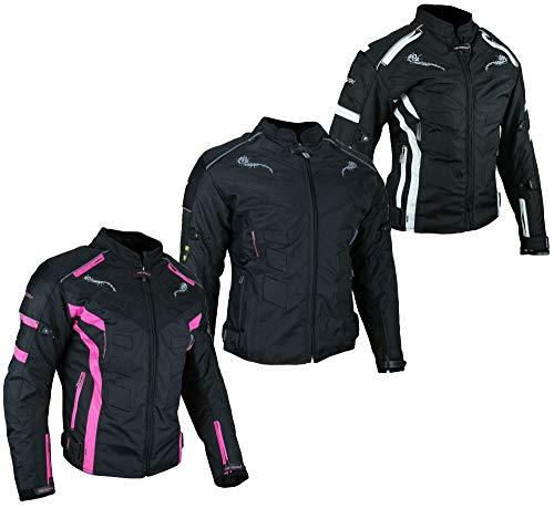 HEYBERRY Damen Motorrad Jacke Motorradjacke Textil Schwarz-Weiß, Schwarz-Pink, Schwarz 7