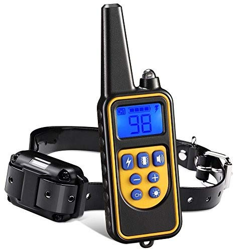 Iduola Dog Training Collar, 860 Yards Small Medium Large Pet with Remote, Waterproof Rechargeable with Beep/Vibration/Electric Shock Bark 2018 Upgraded Version Black-Yellow