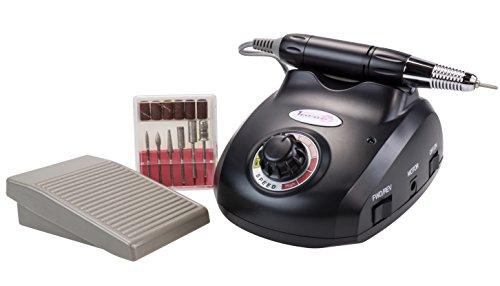 Laron S1102B Nail Master - Dispositivo para manicura y pedicura (incluye 6 cabezales y un pedal), color negro